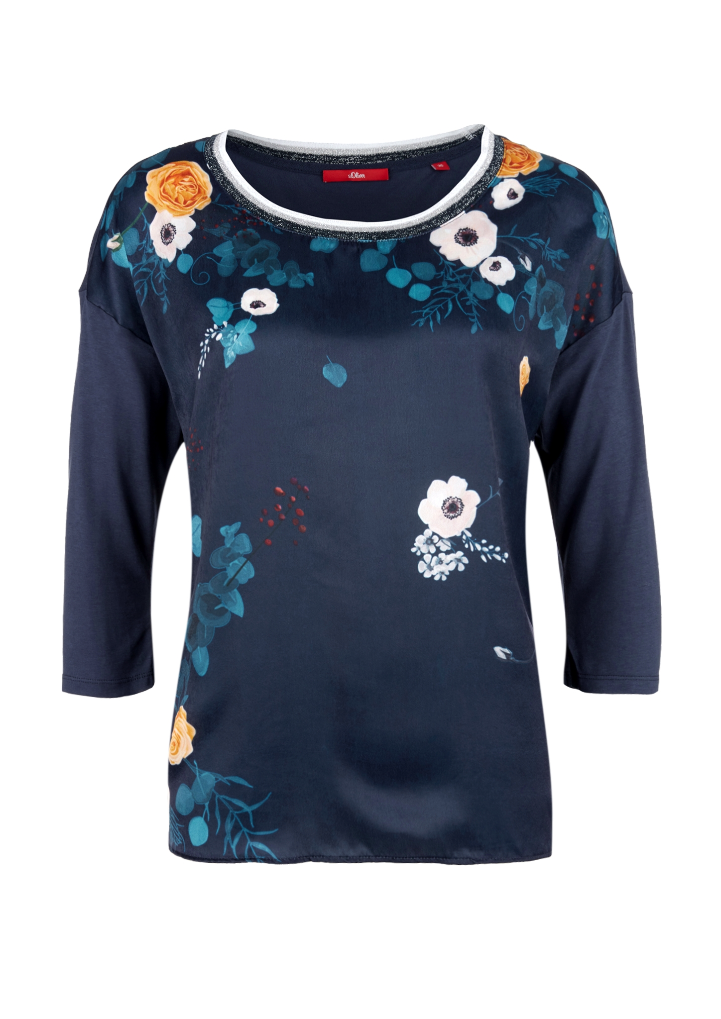 Image of Fabric Mix-Shirt mit 3/4-Arm