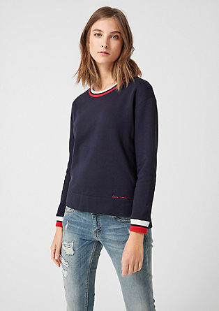 Sweatshirt with striped cuffs from s.Oliver