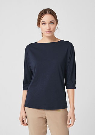 Slub yarn top with a decorative button placket from s.Oliver