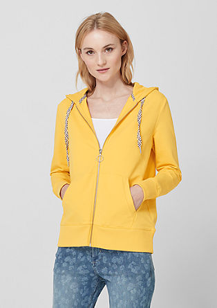 Hooded sweatshirt jacket with decorative ties from s.Oliver