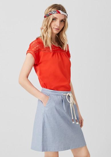 Blouseachtig shirt van een materiaalmix