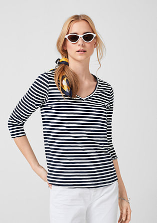 Striped top with a V-neckline from s.Oliver