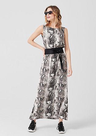 Geweven jurk met slangenmotief