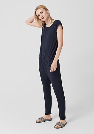 Jersey jumpsuit with mesh sleeves from s.Oliver
