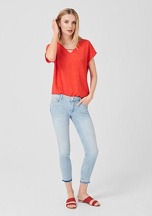 V-Neck-Shirt mit Satin-Front