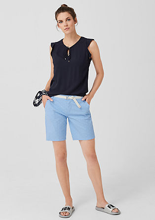 Smart Short: Bestickte Twillhose