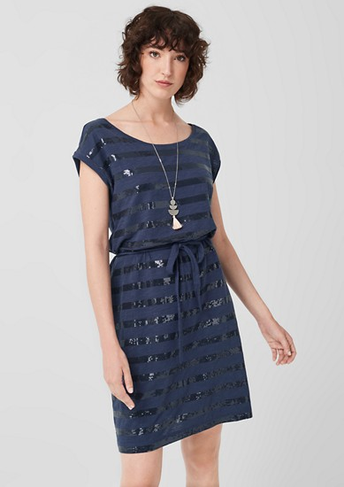 Kleid mit Pailletten-Streifen