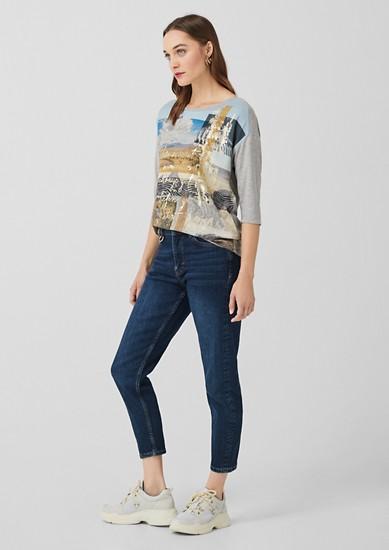Shirt met 3/4-mouwen en een blouseachtig voorpand