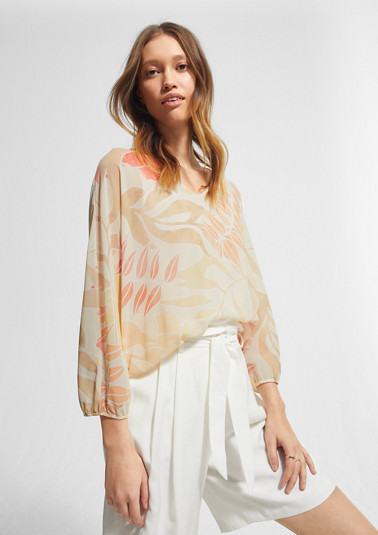 Layered blouse with a fixed jersey top from comma