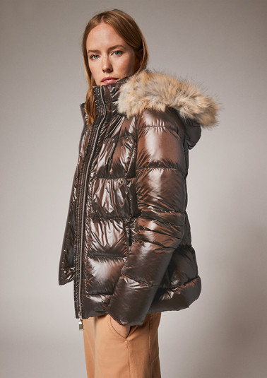 Quilted jacket with detachable faux fur from comma
