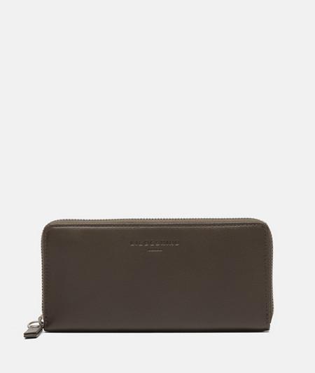 Brieftasche aus Leder und Logoprägung