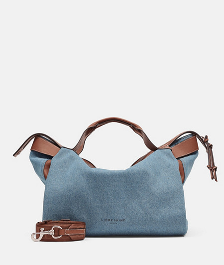 Large denim handbag with leather appliqués from liebeskind