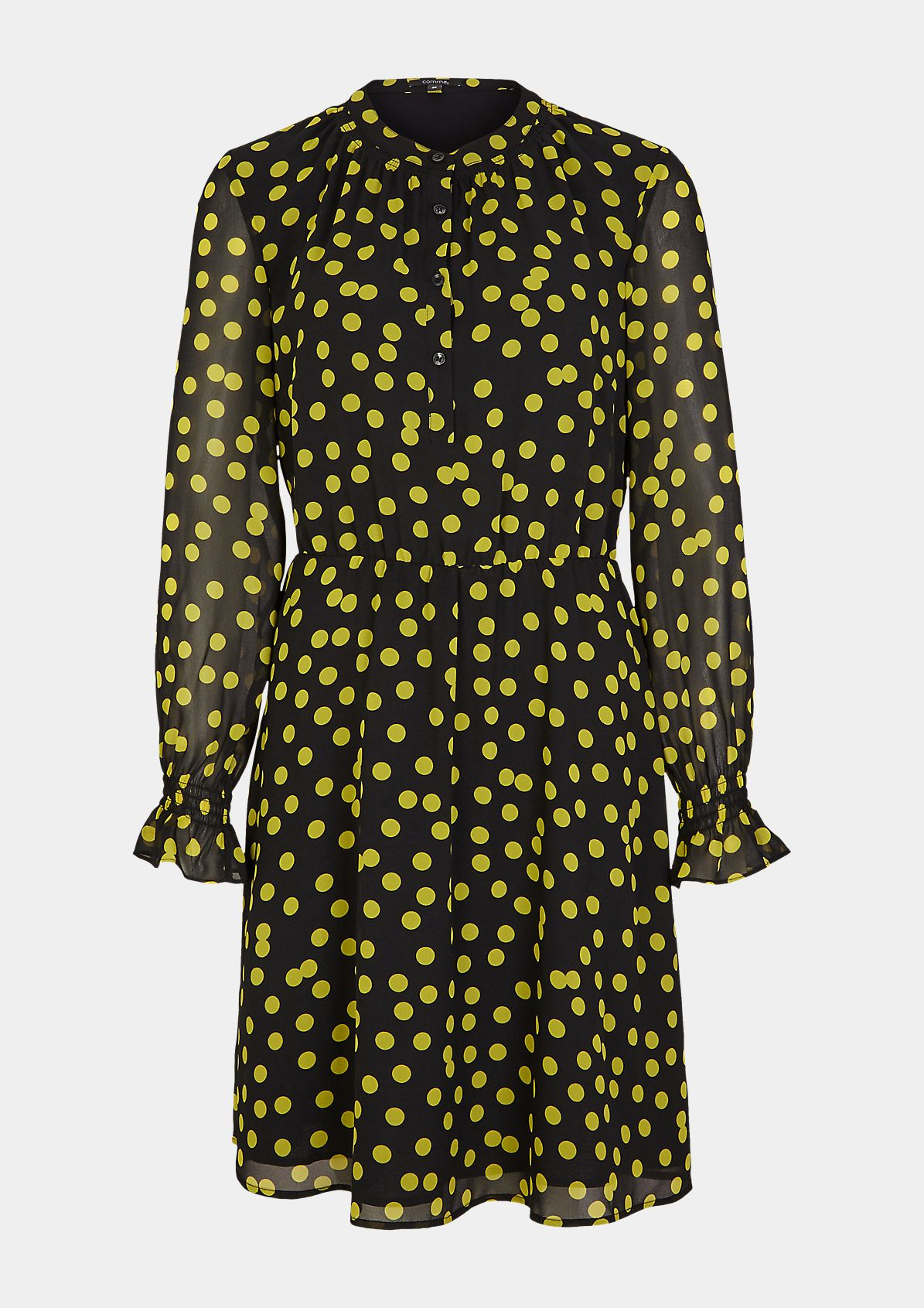 Bedrucktes Kleid mit Smok-Details