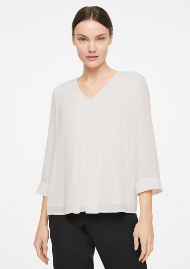 V-Neck-Blusenshirt mit Kellerfalte