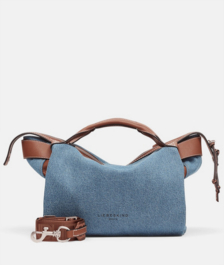 Denim handbag with appliqués made of full-grain cowhide from liebeskind