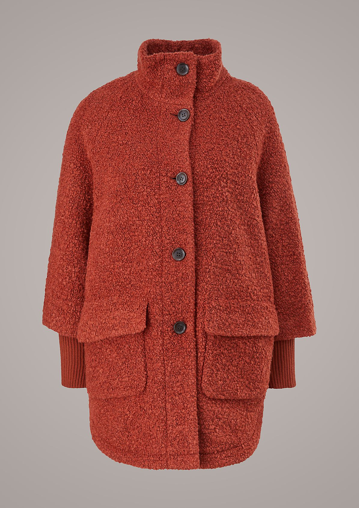 Mantel aus Teddy-Plüsch