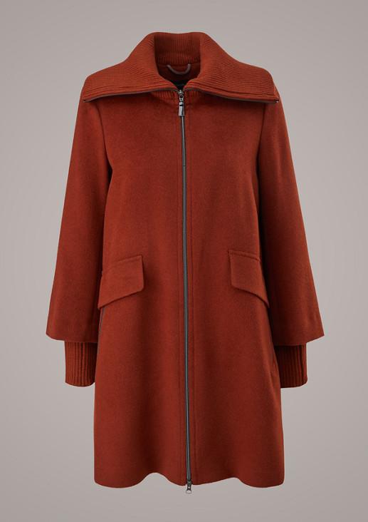 Mantel mit Ripp-Stehkragen
