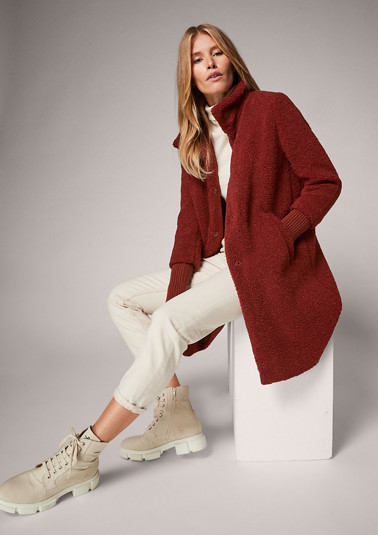 Coat with ribbed cuffs from comma
