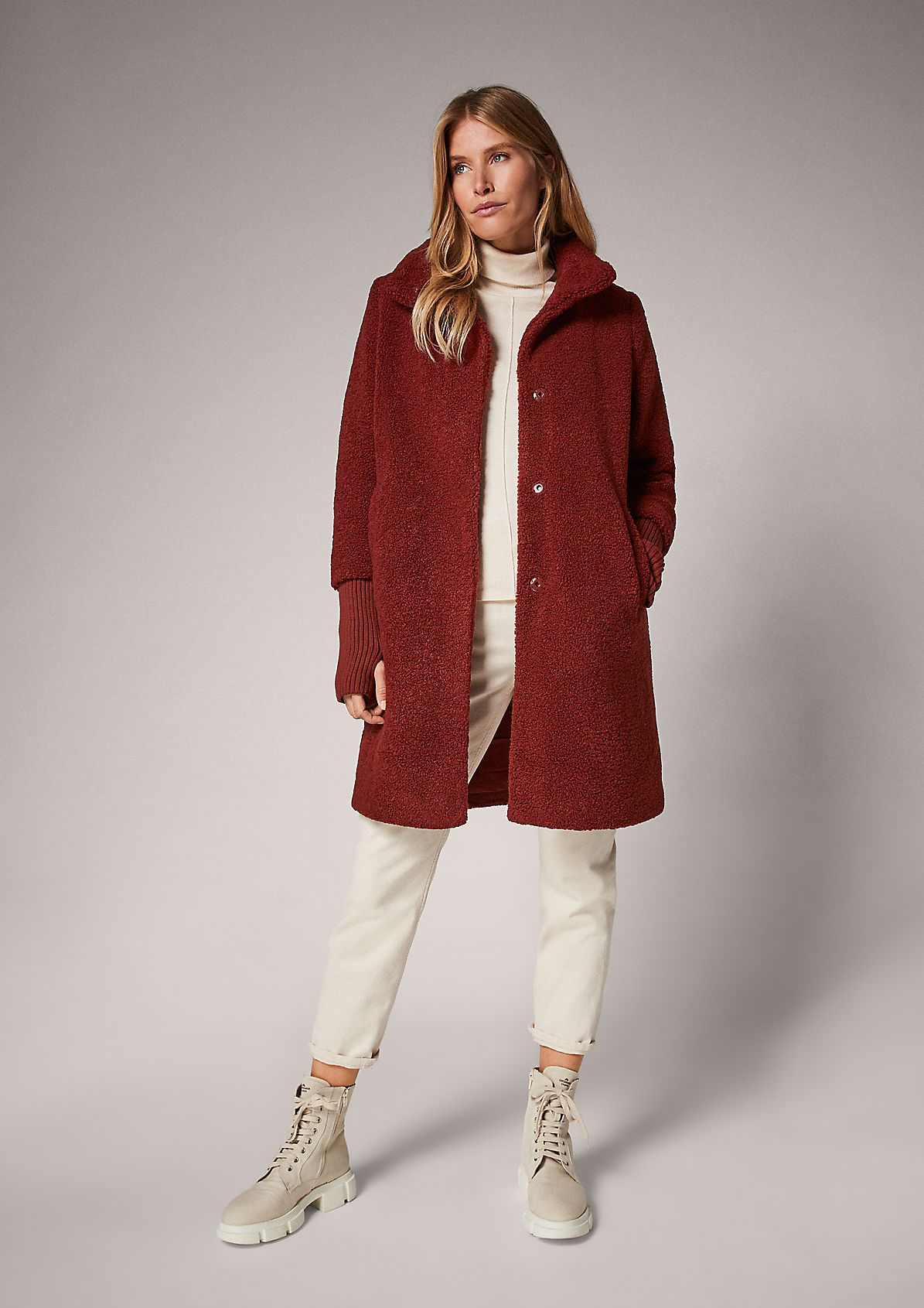 Mantel mit Rippbündchen