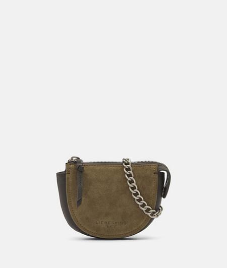 Halbrunde Tasche aus zweierlei Leder