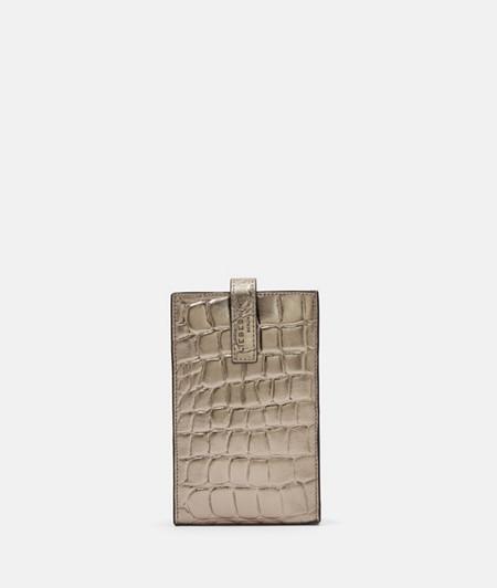 Silberne Handytasche mit Kroko-Prägung