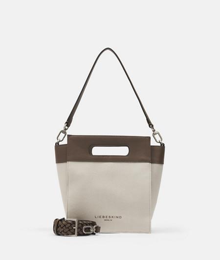 Canvas Handtasche mit Glattleder
