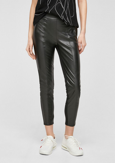 Trousers with a leather-look front from comma