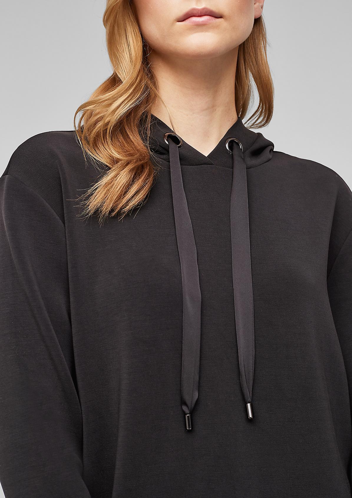 Scuba-Sweatshirt mit satinierter Kapuze