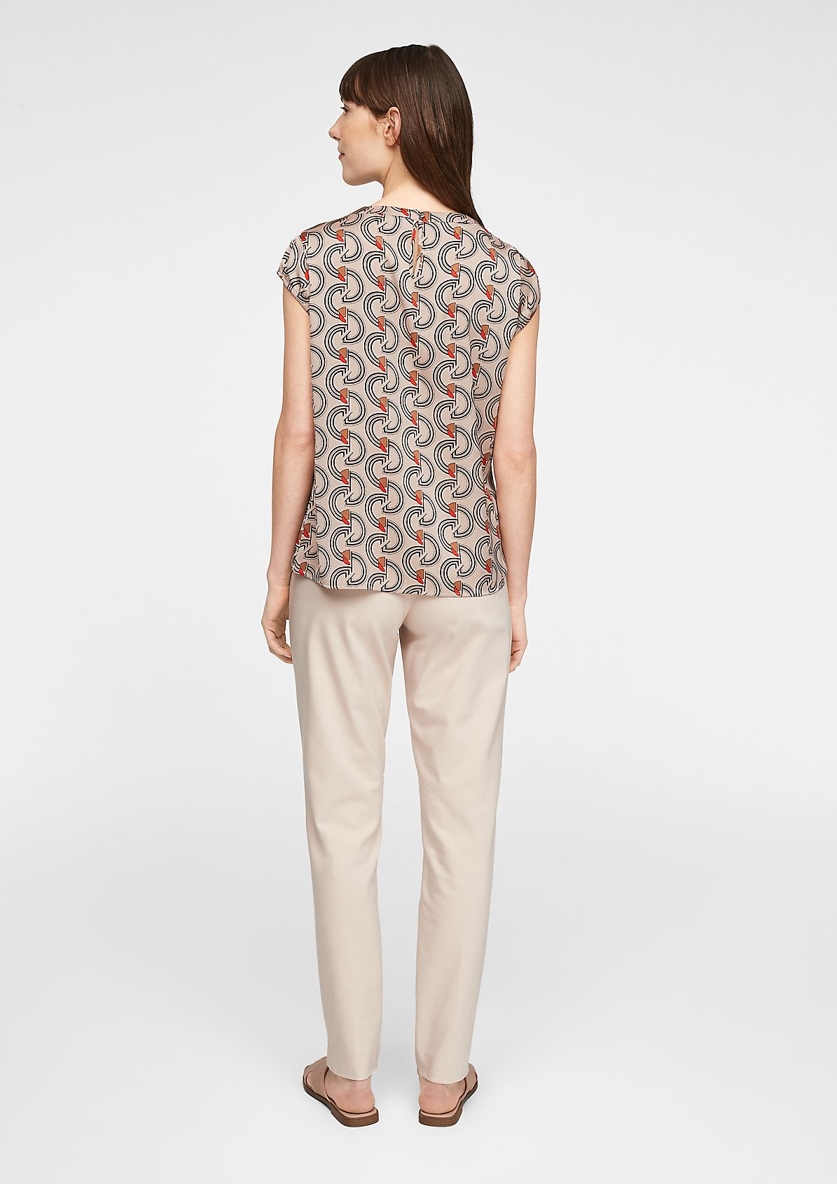 Short sleeve blouse with an all-over pattern from comma