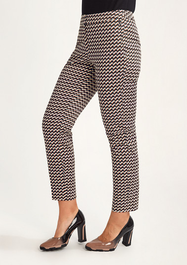 Regular: trousers with an all-over pattern from comma
