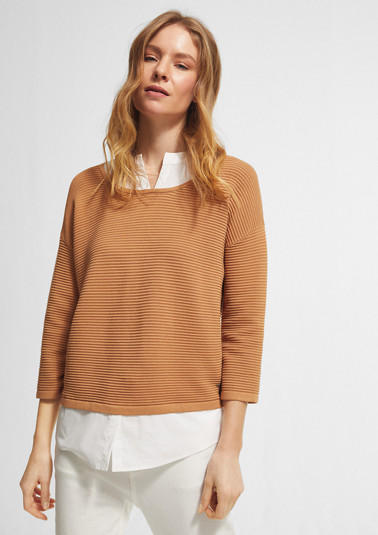 Rib knit jumper with a blouse layer from comma