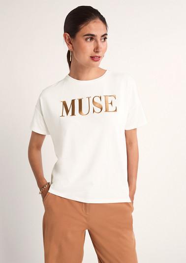Shirt mit gesticktem Schriftzug