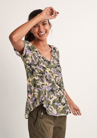 Dobby blouse with drawstring from comma