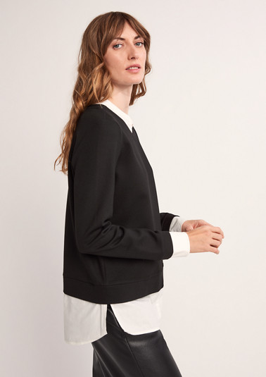Sweatshirt with a blouse insert from comma