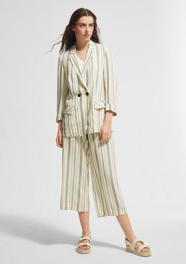 Regular Fit: 7/8-length trousers in blended linen from comma