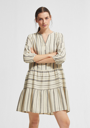 Striped dress with linen from comma