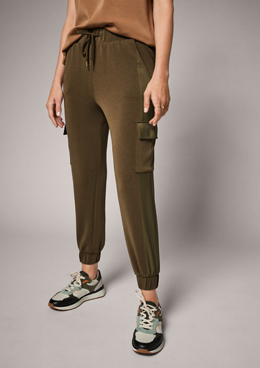 Jersey trousers with woven details from comma