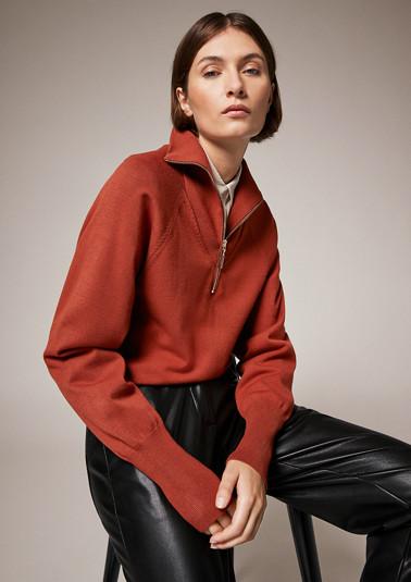 Raglan-Pullover mit Stehkragen