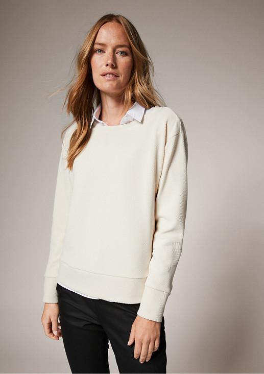 Sweatshirt mit Piquéstruktur