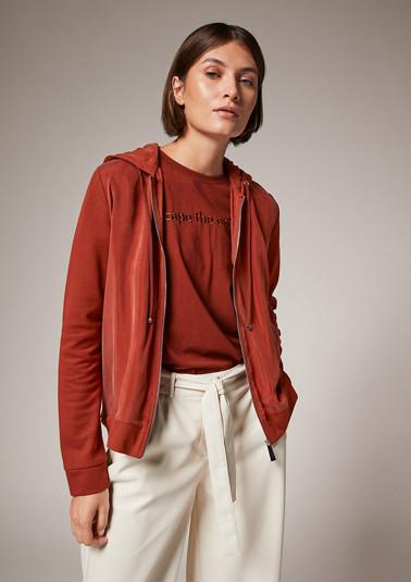Leichte Zip-Jacke im Materialmix