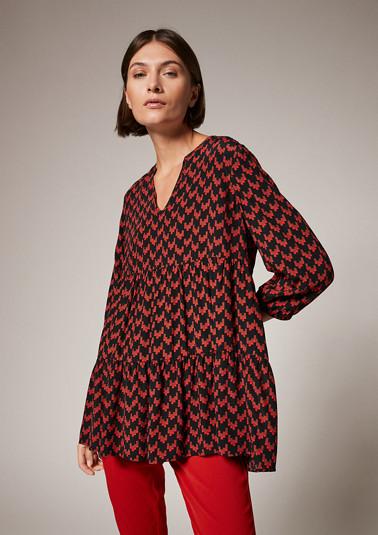 Volant-Bluse aus Viskose