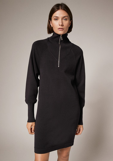 Dress with a button/zip neckline from comma