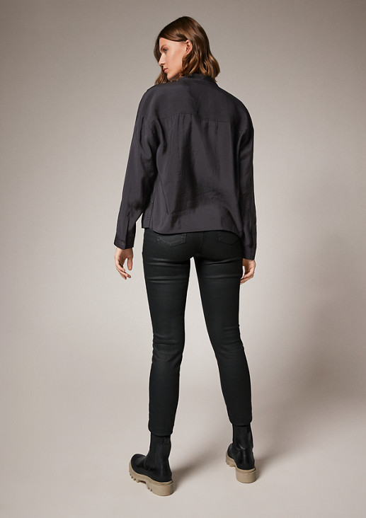 Blended modal blouse with a stand-up collar from comma