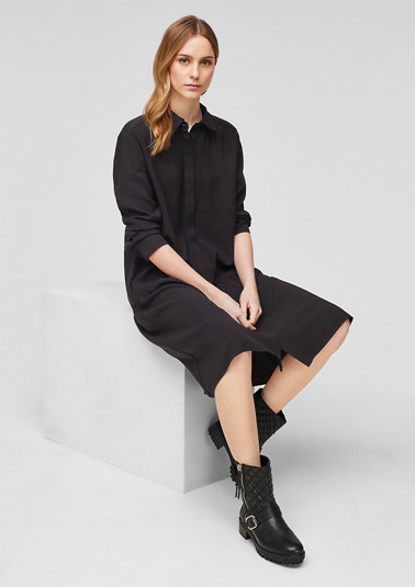 Loose-fitting twill dress with flounces from comma