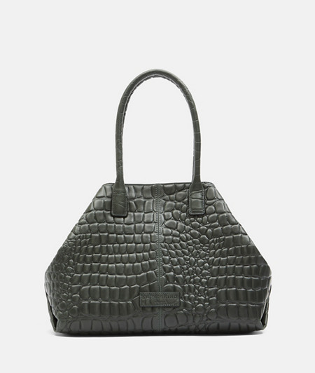Leather shopping bag in a crocodile look from liebeskind
