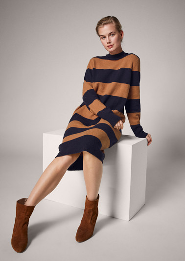 Turtleneck dress with block stripes from comma