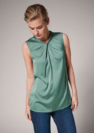 Satin blouse with a draped effect from comma