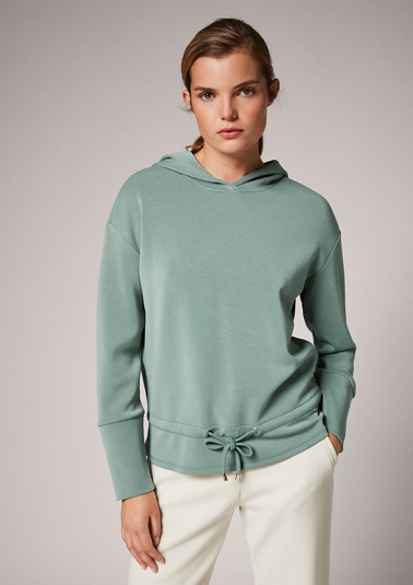 Hoodie with drawstring ties from comma