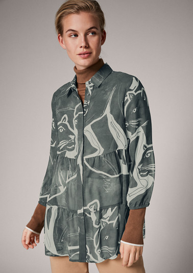 Feminine printed blouse with 3/4-length sleeves from comma