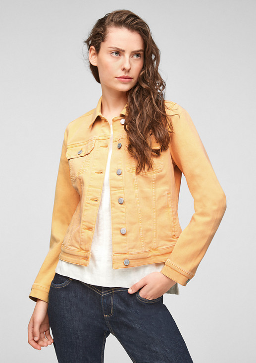 Colored Denimjacke mit Leder-Patch